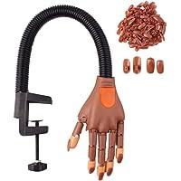 Flexibel rörlig övningshand för falska naglar, bästa manikyr gör-det-själv övningsverktyg (med 100 nagelspetsar)
