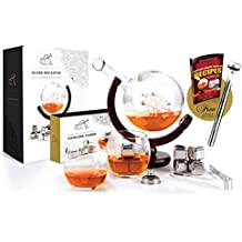 Whiskey Decanter Globe Set World Etched Liquor Spirits Scotch Bourbon Vodka Rum Whiskey Tequila Globe Decanter - Stainless Steel Ice Cubes, Whiskey Glasses, Tongs, Funnel, Beer Chiller - 1000ML