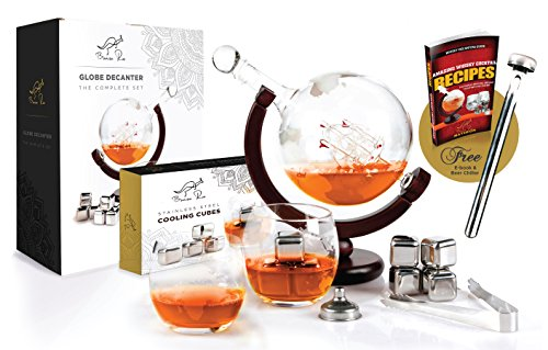 Whiskey Decanter Globe Set World Etched Liquor Spirits Scotch Bourbon Vodka Rum Whiskey Tequila Globe Decanter - Stainless Steel Ice Cubes, Whiskey Glasses, Tongs, Funnel, Beer Chiller - 1000ML by Bonza Roo