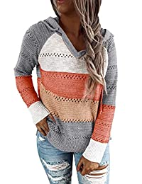 BLENCOT Women's Lightweight Color Block Hooded Sweaters Drawstring Hoodies Pullover Sweatshirts