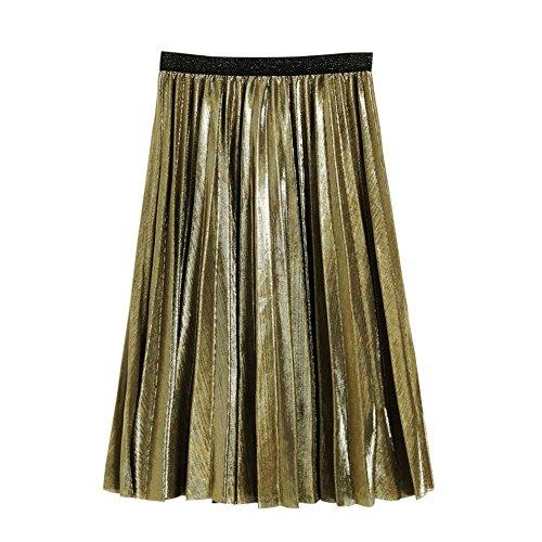 Balai Femmes jupe color mtallique jupe haute jupe dames club jupe partie jupe plisse en polyester Or mtallis