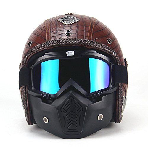 AUTOPDR Motorcycle Helmets 3/5 Open Chopper Bike Helmet PU Leather Open Face Vintage Motorcycle Helmet with Goggle Mask