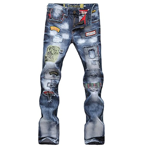 Next Class Men's Denim Washed Ripped Jeans Patched Holey Jeans Pant (30, Light Blue)