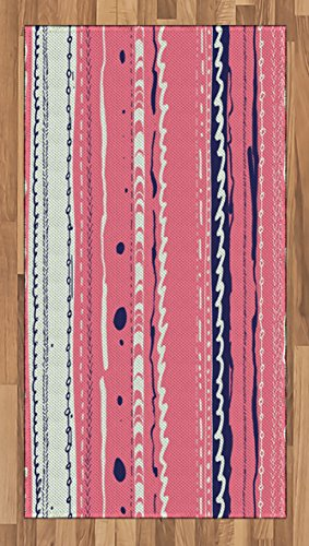 Ambesonne Coral Area Rug, Doodle Lines Artistic Repeating Ornaments Vertical Stripes Abstract Pastel, Flat Woven Accent Rug for Living Room Bedroom Dining Room, 2.6 x 5 FT, Coral Indigo Coconut