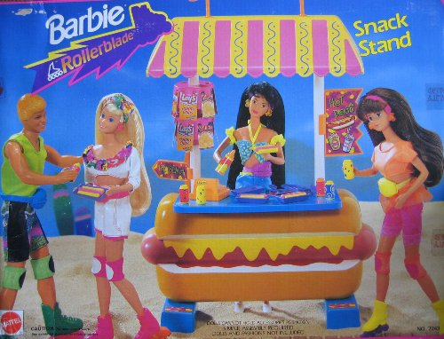 Hamburger Stand (Barbie Rollerblade SNACK STAND Playset w Hot Dog Counter & MORE! (1992 Arcotoys, Mattel))
