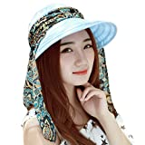 FEDULK Women's Outdoor Travel Beach Sunscreen Cap UV Protection Caps Sun Visor Wide Brim Hat