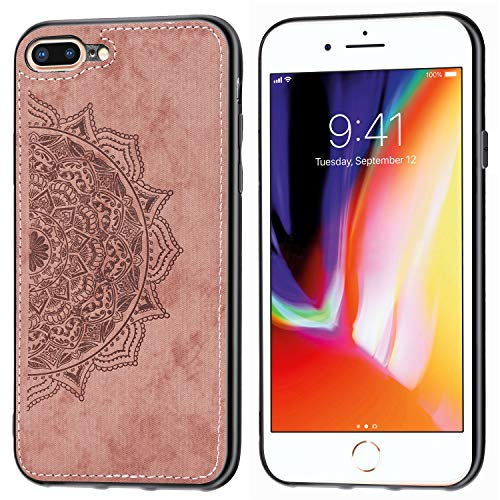 DAMONDY iPhone 8 Plus Case, iPhone 7 Plus,3D Pattern Mandala Flower Design Shock with Hand Strip Slim Hard Shell Back Skin Soft TPU Rubber Bumper Armor Built-in Magnetic Metal Plate Case-Rose Gold