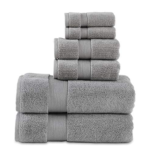 "700 GSM 6 Piece Towels Set, 100% Cotton, Zero Twist, Premium Hotel & Spa Quality, Highly Absorbent, 2 Bath Towels 30"" x 54"", 2 Hand Towel 16"" x 28"" and 2 Wash Cloth 12"" x 12"". Alloy Color"