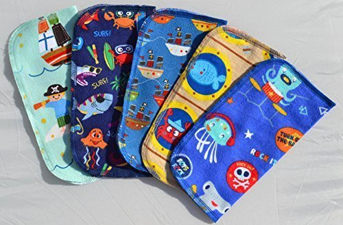 2 Ply Printed Flannel Washable. Pirates and Pals Fun Ocean Adventure- Set Napkins 8x8 inches 5 Pack - Little Wipes (R) Flannel by Gina's Soft Cloth Shop (Image #2)