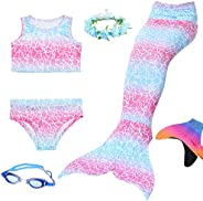 AUIE SAOSA Girls Mermaid Tail Swimming Suit and Fin Swimming Goggles Garlands 6pcs