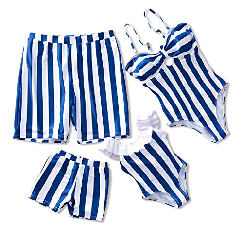 Yaffi Family Matching Swimsuit Striped One Piece Beach Wear 2019 Newest Off Shoulder Monokini Bathing Suit Men: M Navy