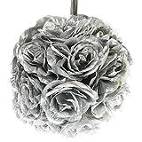 Q.J. Import, Inc 10'' Silver Flower Pomander Kissing Ball