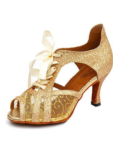 La mode moderne femmes Sandales Chaussures de danse salsa/similicuir talon aiguille Paillettes Sparkling Black/White/Gold,White,US8/EU39/UK6/CN39