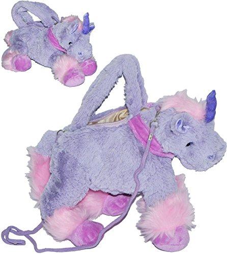 Tragetasche/ Umhängetasche - Einhorn lila - Plüsch für Kinder - Tasche Plüschtasche / Handtasche rosa Mädchen Pferd - Kindertasche - Einhörner Einhorntasche - Plüschtaschen Plüschtier / Schmusetier