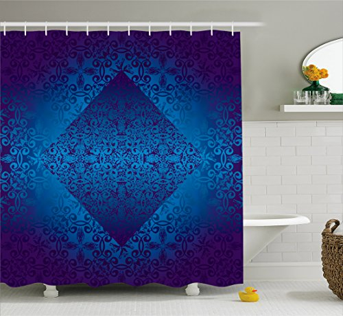 Royal Blue Art (Victorian Shower Curtain by Ambesonne, Ombre Seamless Classic Design with Little Light in the Middle Artwork, Fabric Bathroom Decor Set with Hooks, 75 Inches Long, Blue Indigo Royal Blue)