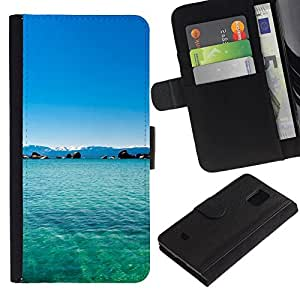All Phone Most Case / Oferta Especial Cáscara Funda de cuero Monedero Cubierta de proteccion Caso / Wallet Case for Samsung Galaxy S5 Mini, SM-G800 // Philippines Dream Blue Lagoon Paradise