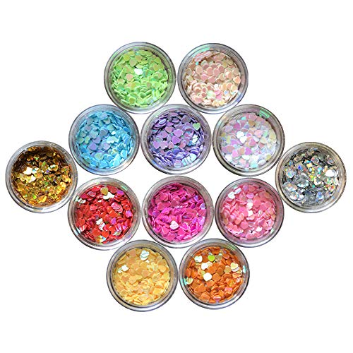 Nail Glitter 12 Boxes Nail Art Flakes Hexagon Confetti Festival Glitter Colorful Chunky Glitters for Hair Face and Eye Make Up Foil Flakes (12Colors,Heart-shaped)]()