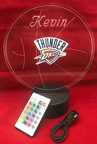 City Thunder Acrylic - Oklahoma Beautiful Handmade Acrylic Personalized City Thunder NBA Basketball Light Up Light Lamp LED Our Newest Feature - It's WOW, Comes With Remote 16 Color Option, Dimmer, Free Engraved, Great Gift