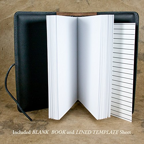Genuine Leather Refillable Journal Cover + Hardbound Blank Insert - 6x9 Inches - Forest, Green With Pewter Button - Made in the USA by Oberon Design by Oberon Design (Image #4)