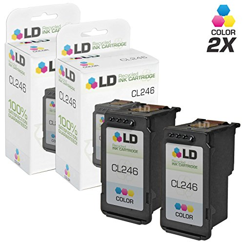 LD Remanufactured Canon CL-246 / 8281B001AA Set of 2 Color Inkjet Cartridges for Canon PIXMA iP2820, MG2420, MG2520, MG2920, MG2922, MG2924, MX490, and MX492 Printers - Canon Remanufactured Inkjet Cartridge