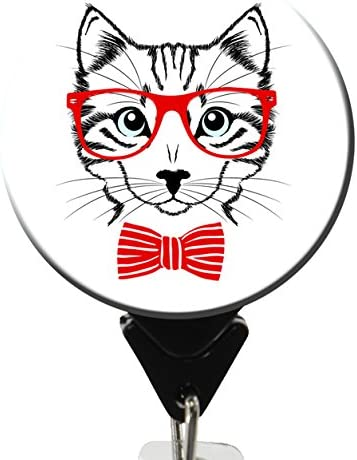 Hipster Cat No Twist Badge Reel with Swivel Clip and Extra Long 34 inch Cord Length Badge Holder