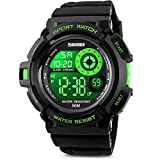 Aposon Men's Digital Sports Watch, Military Army Electronic Watches Running 50M 5 ATM Waterproof Sports LED Wristwatch Water Resistant with Stopwatch -Green