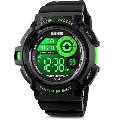 Aposon Men's Digital Sports Watch, Military Army Electronic Watches Running 50M 5 ATM Waterproof Sports LED Wristwatch Water Resistant with Stopwatch (Super Digital Watch)