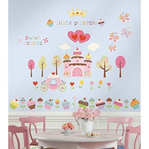 Lunarland HAPPI CUPCAKE LAND 56 Wall Stickers Princess Castle Room Decor Decals - Cupcake Wall Stickers