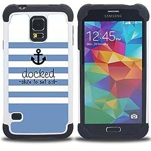 For Samsung Galaxy S5 I9600 G9009 G9008V - blue white stripes lines sea ship Dual Layer caso de Shell HUELGA Impacto pata de cabra con im??genes gr??ficas Steam - Funny Shop -