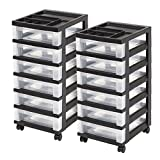 IRIS 6-Drawer Rolling Storage Cart with Organizer Top, Black, 2 Pack