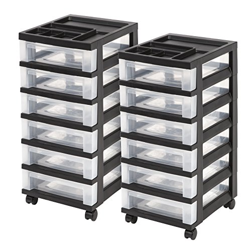 IRIS 6-Drawer Rolling Storage Cart with Organizer Top, Black, 2 Pack (Cart Bin Mobile)