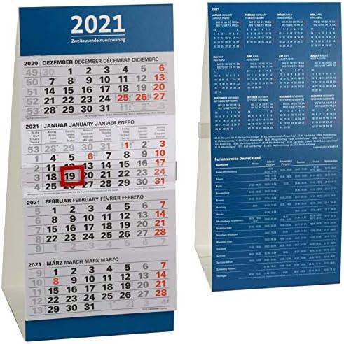 Tischkalender 2021 4 Monate Bürokalender 4-Monatskalender Schreibtischkalender