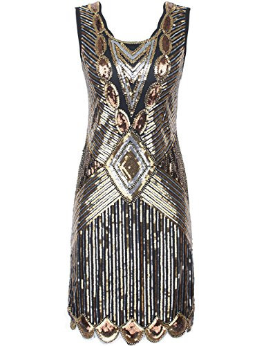 PrettyGuide Women's 1920s Gatsby Sequin Art Deco Scalloped Hem Inspired Flapper Dress S Gold