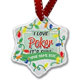 Personalized Name Christmas Ornament, I Love Poker, Vintage design NEONBLOND