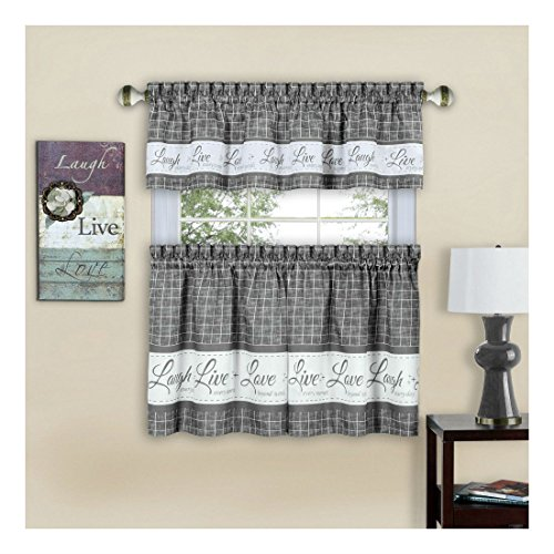 Gray Live~Laugh~Love 3 Pc Kitchen Curtain Set - 36in Long