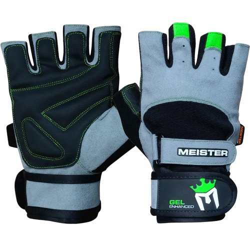 Meister Wrist Wrap Weight Lifting Gloves w/Gel Padding - Gray/Neon Green - Large