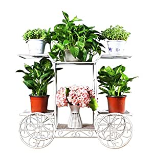 European - Style Metal Flower Racks Plant Display StandCreative Multi - Storey Living Room Balcony Outdoor Flower Pot Rack Four Colors Are Available ( Color : White )