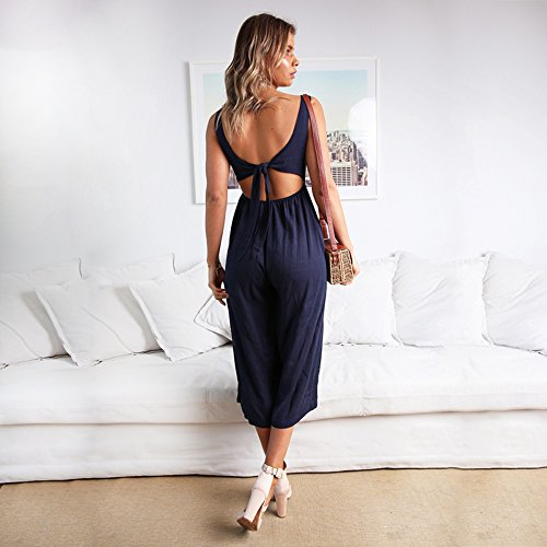 ALAIX Women's Casual V Neck Spaghetti Strap Jumpsuit Sleeveless Backless Wide Leg Overalls Rompers Dark Blue-S