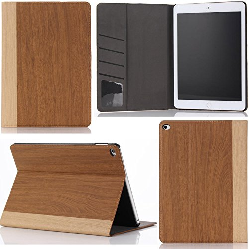 ipad Air 2 Case Business Case for Ipad Air 2 Durable Stand Book Type Full Protect Wood Grain Painted Leather Cover Case for Ipad 6,for ipad Air 2 Case (Brown)