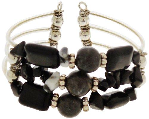 - Onyx and Zebra Stone 3 Strand Cuff Bracelet
