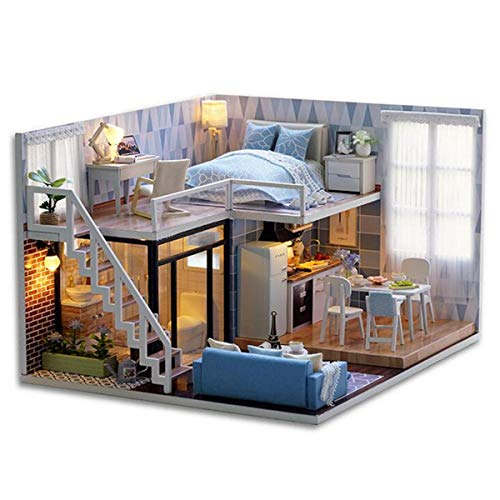 DIY Blue Time Miniature Wooden Dollhouse Furniture Kit LED Christmas Gift Doll House - Dolls & Stuffed Toys Doll House & Miniature - 1 x DIY Doll House Kit -