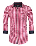 GloryStar Men's Casual Classics Oktoberfest costumes Turn-down Collar Long Sleeve Check Shirt Red and White Checked L