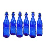 Modern Home STB-PLAINBLUE-SETOF6 Culaccino Swing Top Round Glass Bottle, Set of 6, 1L/34 oz, Cobalt Blue Plain Finish