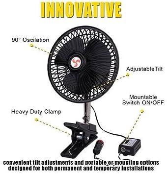 Yevenr Portable Fan 12V 25W Car Mini Fan Multipurpose Car Portable Fan Clip-On Car Oscillating Fan Mini Fan for Car Truck Dashboard