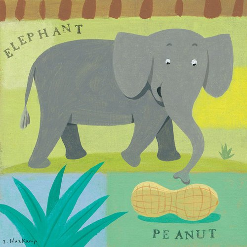 (Oopsy Daisy Nutty Elephant Stretched Canvas Wall Art by Steve Haskamp, 14 by)