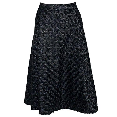 CCH Collection Womens Shimmer Swirl High Waisted Skirt Black 6 (Silk Skirt Swirl)