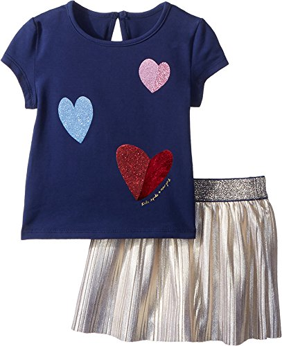 Kate Spade New York Kids Baby Girl's Tossed Hearts Skirt Set (Infant) New Navy 18 Months