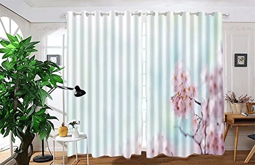 """vanfan 2 Panel Set Digital Printed Blackout Window Curtains for Bedroom Living Room Dining Room Kids Youth Room Window Drapes(W108x L95"""", Cherry blossom with soft pastel blu)"""