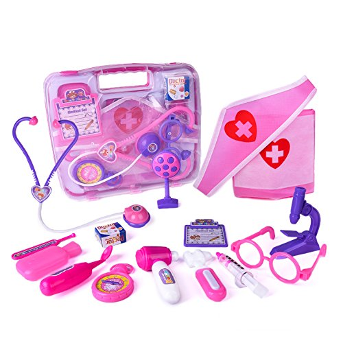 Doctor Little Toy Kids (FUN LITTLE TOYS Doctor Kit for Kids, 15 pcs Pretend Play Pink Medical Kit for Girls Toddlers)