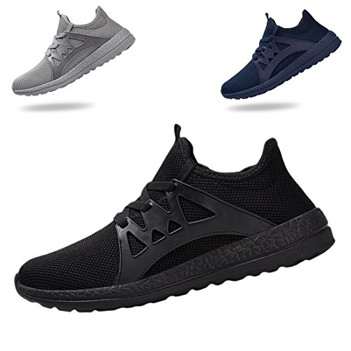 KRIMUS Men's Mesh Sneakers Ultra Lightweight Breathable Athletic Running Shoes (Black-44) Review